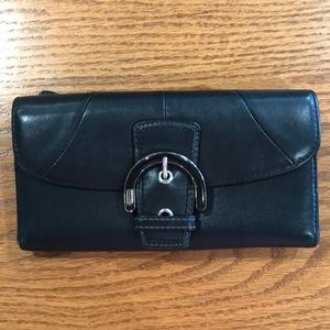 Coach Black Leather Wallet with light blue lining